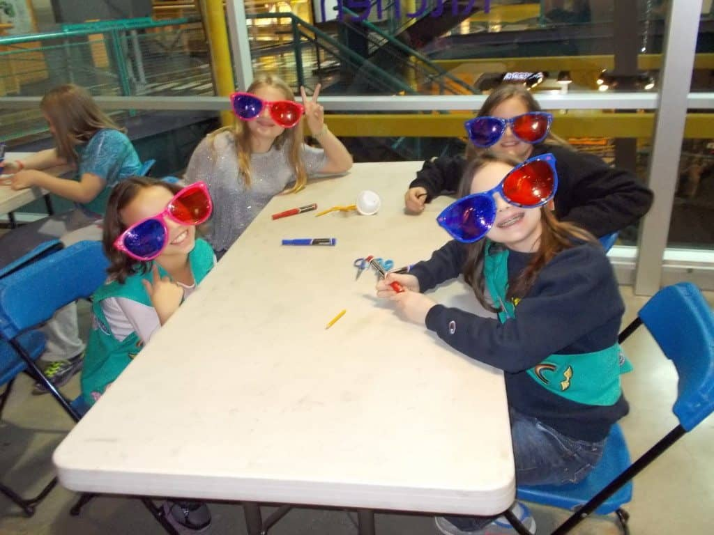 Girl scouts wear 3D glasses as part of an Entertainment Technology workshop
