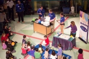 Families and presenters celebrate MiSci's 2nd birthday on the Science Stage
