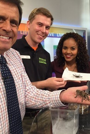 A Science Center educator and two news anchors hold two different species of arachnids