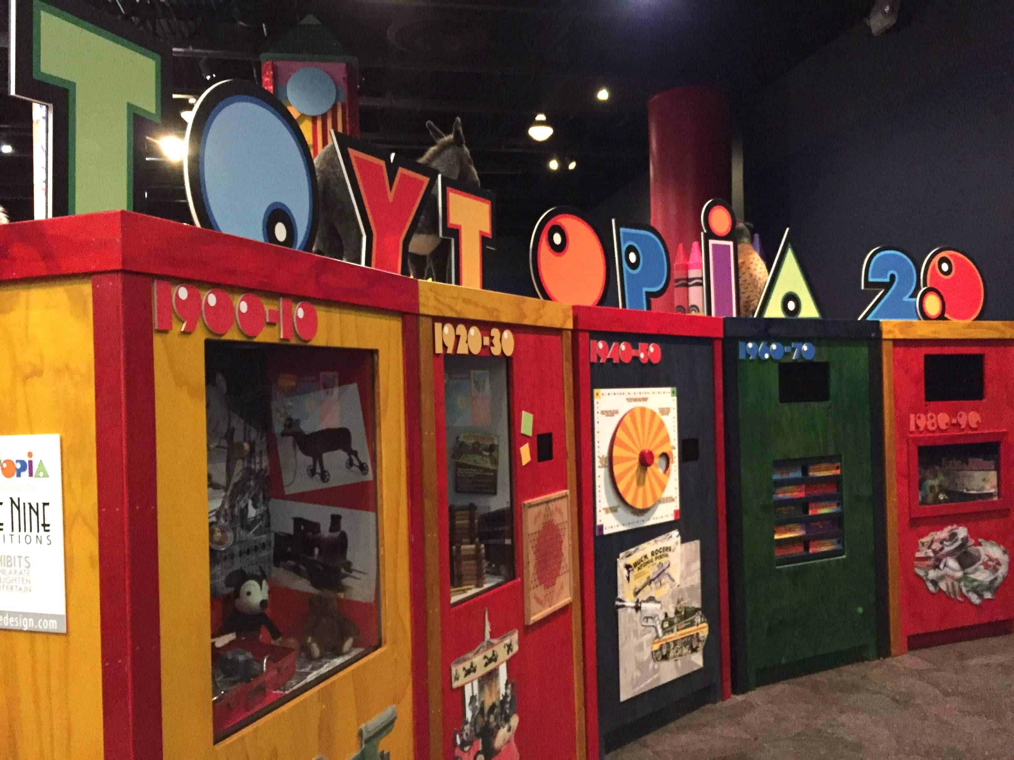 Part of the Toytopia exhibit showing popular toys through the decades
