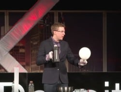 "Outreach Coordinator Charles Gibson gives a TED Talk entitled ""Explosive Science!"""