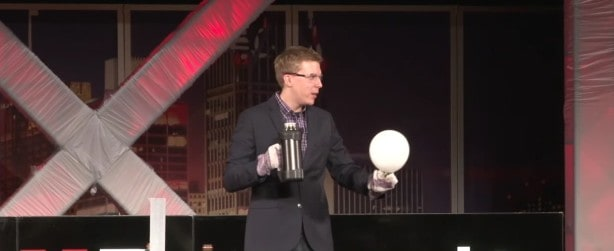 """Outreach Coordinator Charles Gibson gives a TED Talk entitled """"Explosive Science!"""""""