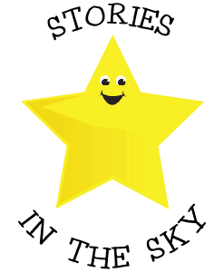 A logo for the Stories in the Sky planetarium show