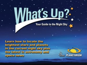 A logo for the What's Up? Your Guide to the Night Sky planetarium show