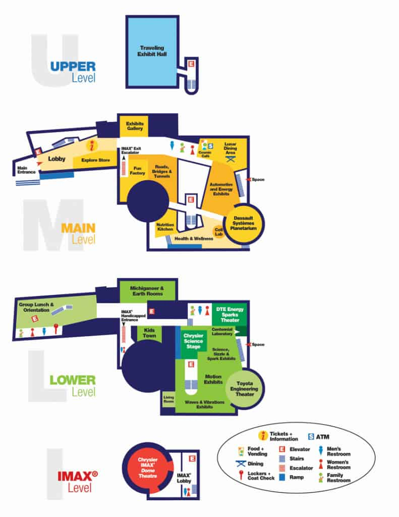 A map of the Michigan Science Center